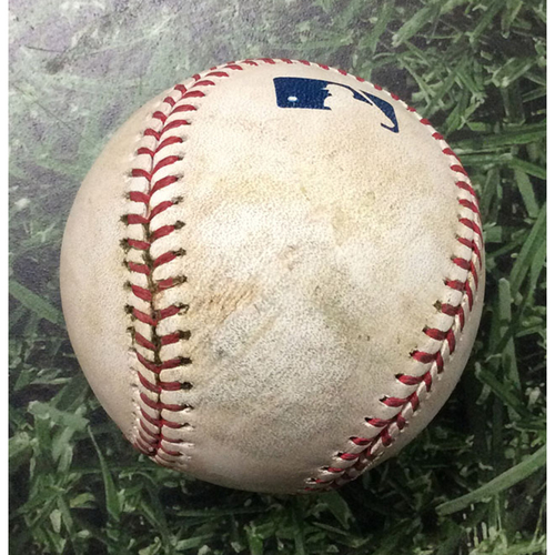 Photo of Game-Used Baseball LAD@MIL 04/20/19 - Caleb Ferguson - Lorenzo Cain: Double