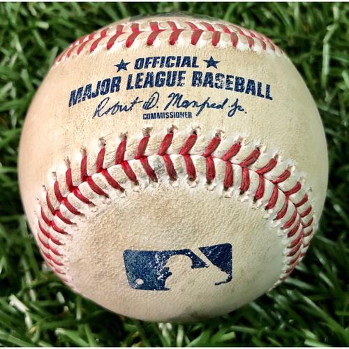 Photo of Game Used Baseball: Pat Valaika ground-rule double off Trevor Richards - August 26, 2020 v BAL
