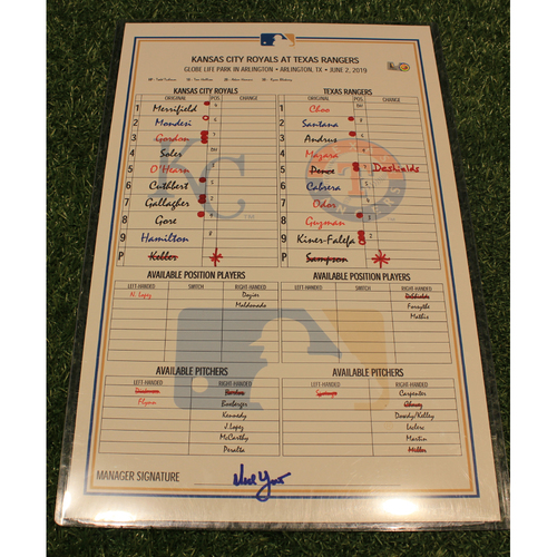 Photo of Game-Used Lineup Card: KC @ TEX 6/2/2019
