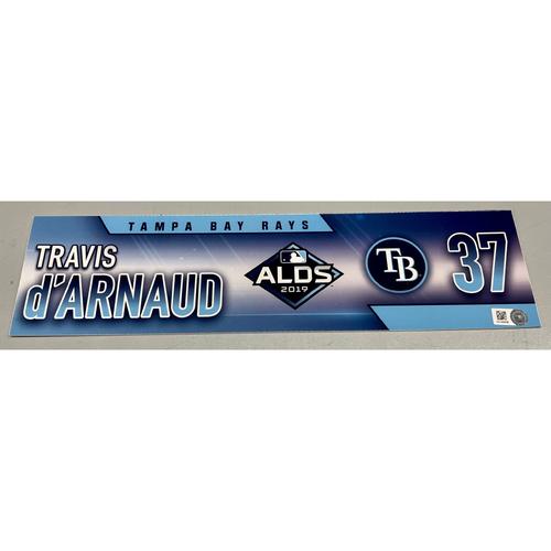 Photo of Game Used ALDS Locker Tag: Travis d'Arnaud - 3 Games - October 4, 5, 10, 2019 at HOU