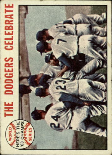 Photo of 1964 Topps #140 World Series Summary/Dodgers Celebrate