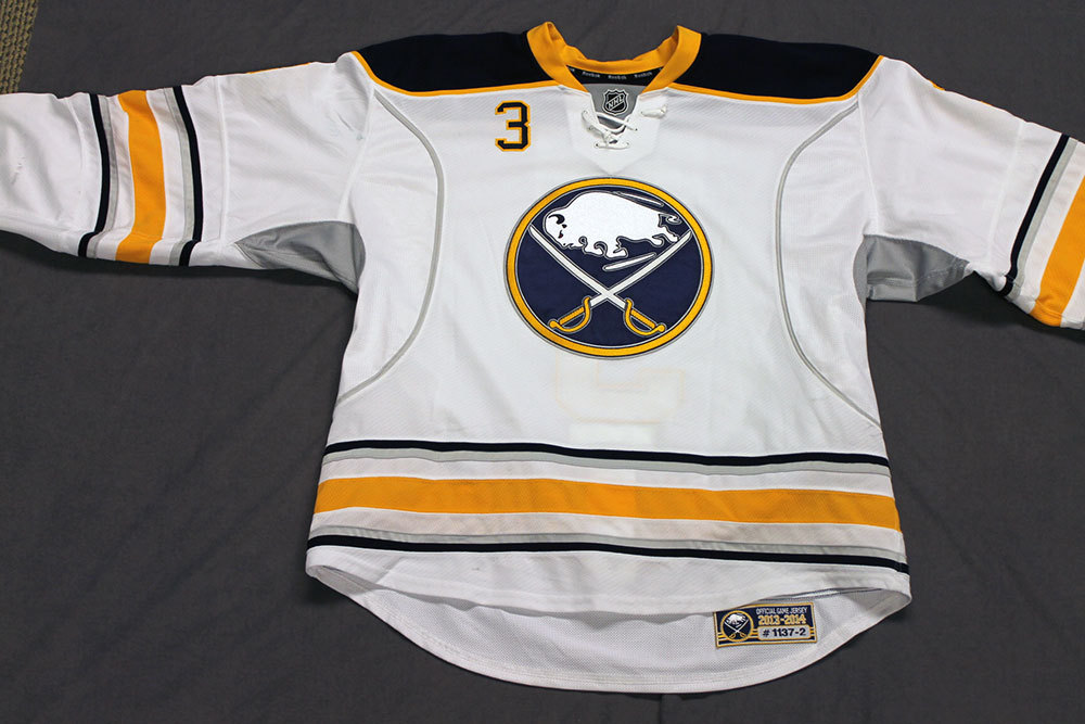 Mark Pysyk Game Worn Buffalo Sabres Away Jersey.  Serial: 1137-2. Set 2 - Size 56.  2013-14 season.