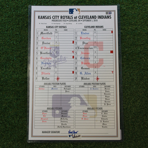 Photo of Game-Used Line-Up Card: Corey Kluber 18th Win of 2018 Season (KC @ CLE- 9/5/18)