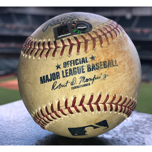 Photo of Game-Used Baseball: 7/23/19 Astros vs Athletics, Mike Fiers to Alex Bregman (Pop Out) and Michael Brantley (Double)