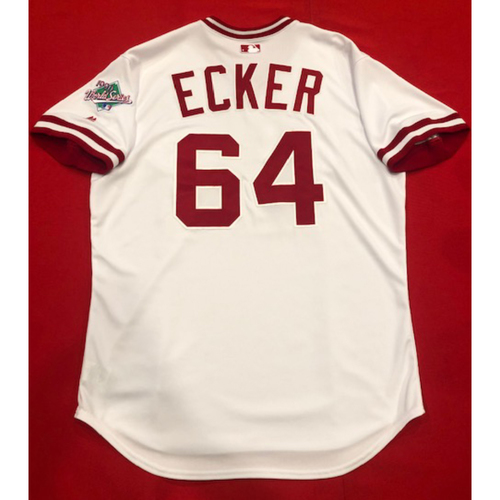 Photo of Donnie Ecker -- Team Issued 1990 Throwback Jersey -- Cardinals vs. Reds on Aug. 18, 2019 -- Jersey Size 48