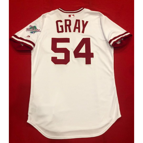Photo of Sonny Gray -- Game-Used 1990 Throwback Jersey -- Cardinals vs. Reds on Aug. 18, 2019 -- Jersey Size 44