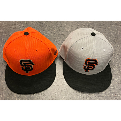 Photo of 2019 Holiday Sale - 2019 Team Issued Batting Practice Cap Set - Orange BP Cap Issued to #49 Jaylin Davis & Team Issued Gray BP Cap - Size 7 1/2