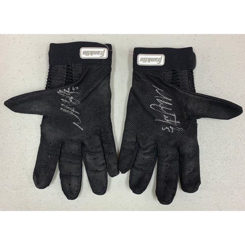 Photo of Team Issued Autographed Batting Gloves - signed by #5 Mike Yastrzemski - Black Franklin Batting Gloves