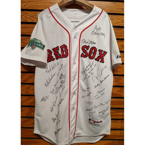 Photo of Fenway 100 Red Sox Home White Alumni Players Autographed Jersey