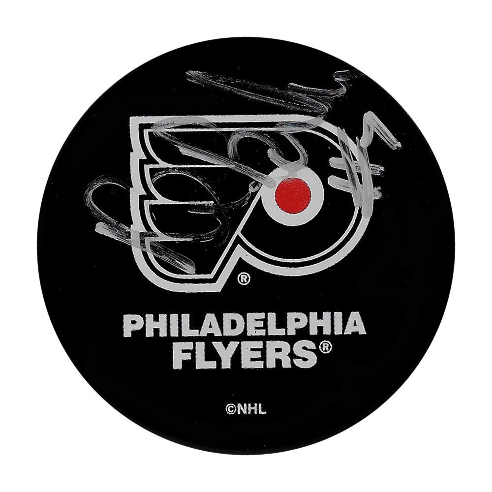 Bill Barber Autographed Philadelphia Flyers Vintage Ravens Athletic Puck