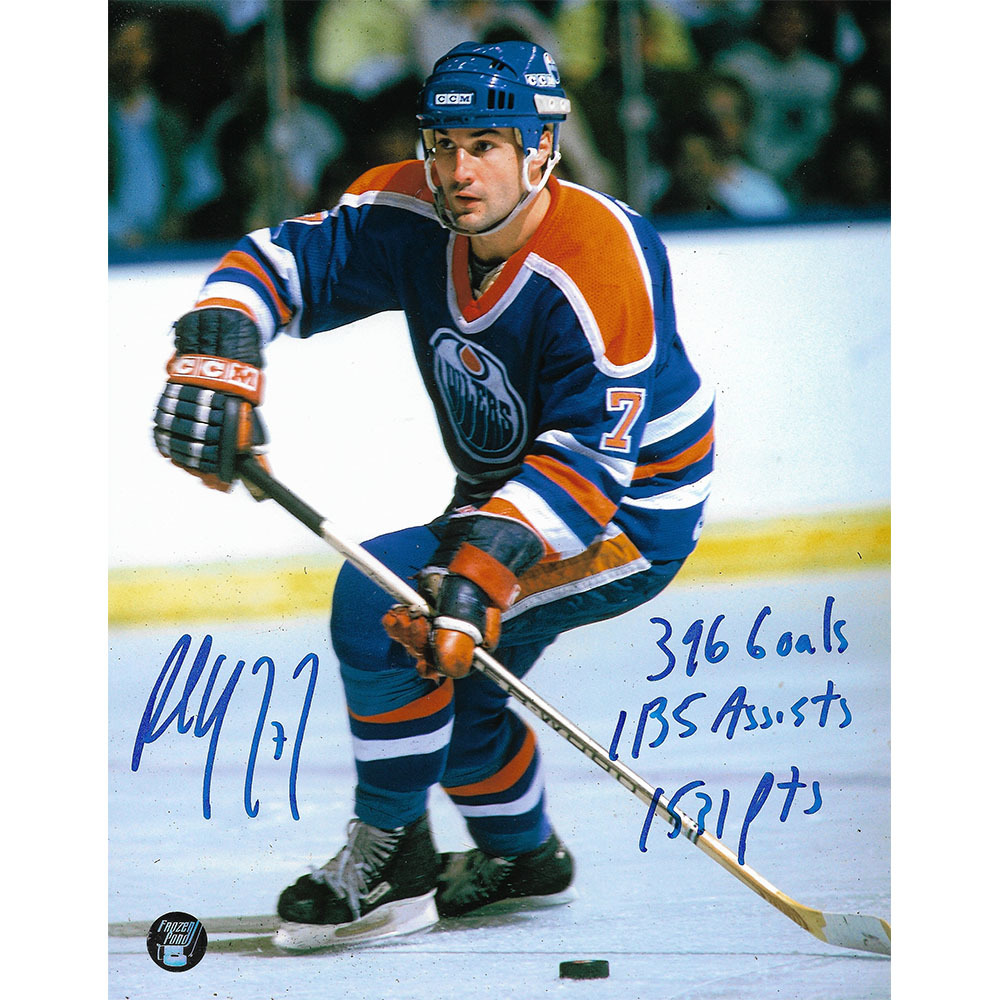 Paul Coffey Autographed Edmonton Oilers Puck w/Career Stats Inscription