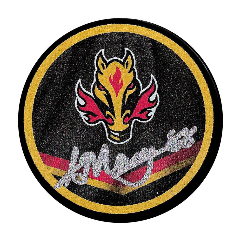 Andrew Mangiapane Autographed Calgary Flames Reverse Retro Puck