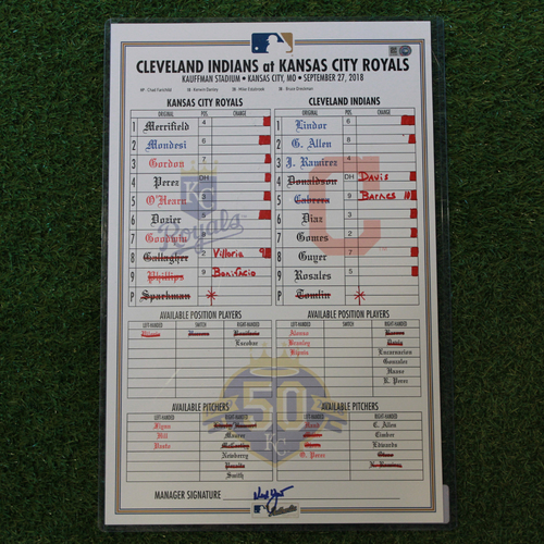 Photo of Game-Used Line-Up Card: Salvador Perez Walk-Off Single in 10th Inning (CLE @ KC- 9/27/18)