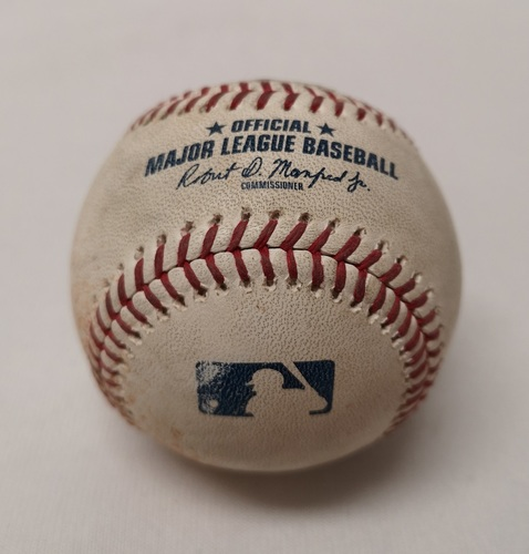 Photo of Authenticated Game Used Baseball - Jonathan Davis Foul Ball against Andrew Kittredge (September 5, 2018 vs TB). Bottom 2. MLB Debut for Jonathan Davis and Rowdy Tellez.