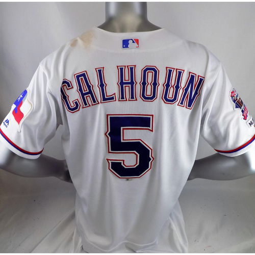 Photo of Willie Calhoun Game-Used White Homerun Jersey - 5/18/19 v STL, 6/18/19 v CLE