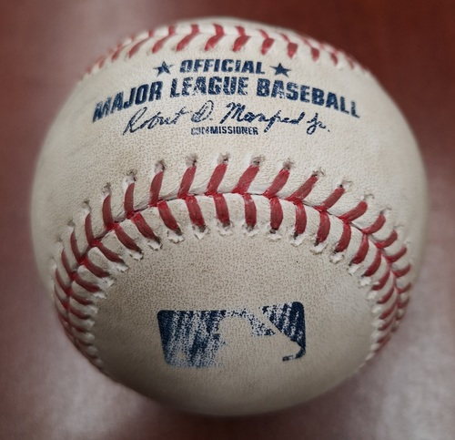 Photo of Authenticated Game Used Baseball - Jonathan Villar Doubles against Nick Kingham (July 6, 19 vs BAL). Top 8.