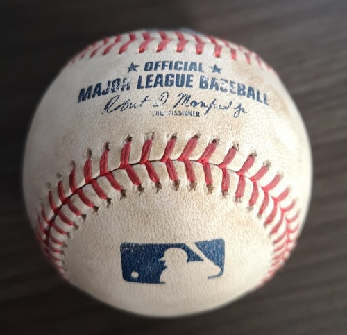 Photo of Authenticated Game Used Baseball: Strikeout by Mike Clevinger against Cavan Biggio (Jul 22, 19 vs CLE). Bottom 4. Also used for 3 pitches to Guerrero Jr.