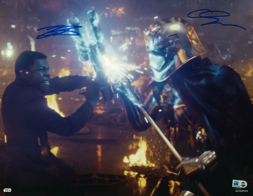 Gwendoline Christie and John Boyega As Captain Phasma and Finn 11X14 AUTOGRAPHED IN 'Blue' INK PHOTO