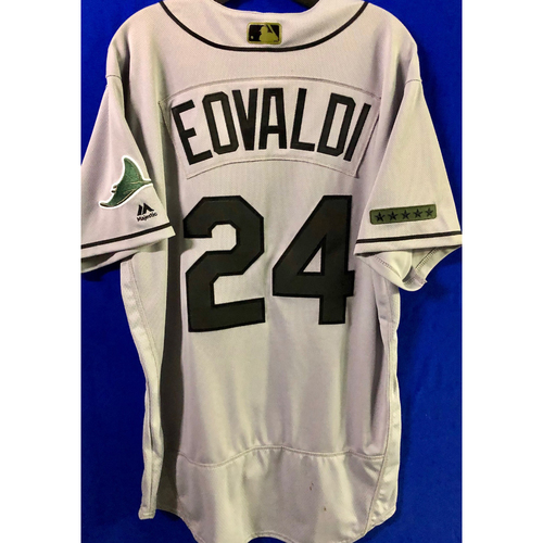Photo of Team Issued Road Gray Memorial Day Jersey: Nate Eovaldi