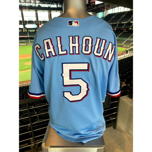 Photo of Willie Calhoun Game-Used Powder Blue Jersey - 1st Time Worn (7/26/20)