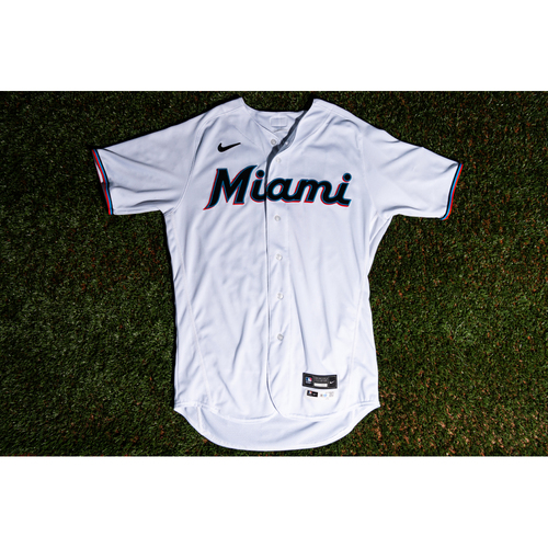 Photo of Promote the Vote: Game-Used Starling Marte Marlins Home White Jersey