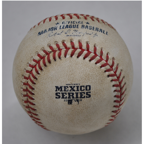 Photo of Game-Used Baseball - 2018 Mexico Series - 5/6/2018 - Los Angeles Dodgers vs. San Diego Padres - Top 2 - Pitcher: Eric Lauer, Batter: Alex Verdugo - Ground out to 2B
