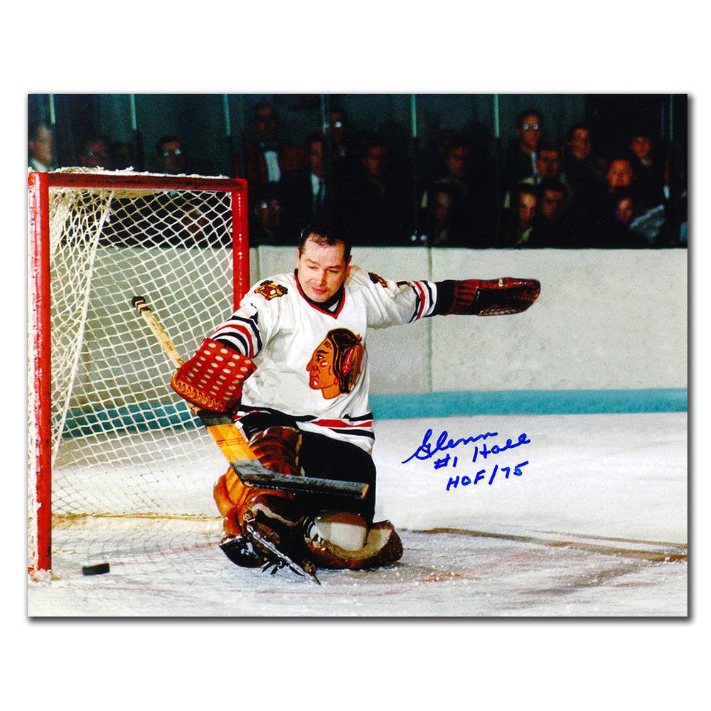 Glenn Hall Chicago Blackhawks BIG SAVE Autographed 8x10