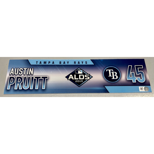 Photo of Team Issued ALDS Locker Tag: Austin Pruitt - 3 Games - October 4, 5, 10, 2019 at HOU