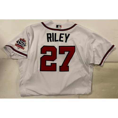 Photo of Austin Riley Game Used NLCS Jersey - Worn 10/16/2021 - Walk off Single - Buttons ripped off Jersey