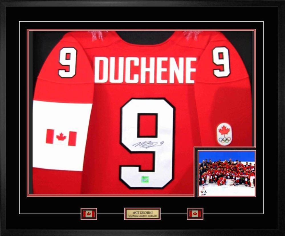 Matt Duchene - Signed & Framed Team Canada 2014 Olympic Nike Premier Red Jersey Featuring Team Celebration Photo - Celebrate Team Canada