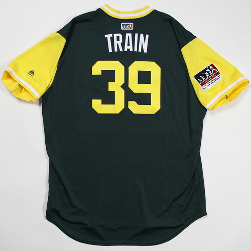 "Photo of Blake ""Train"" Treinen Oakland Athletics Game-Used Jersey 2018 Players' Weekend Jersey"
