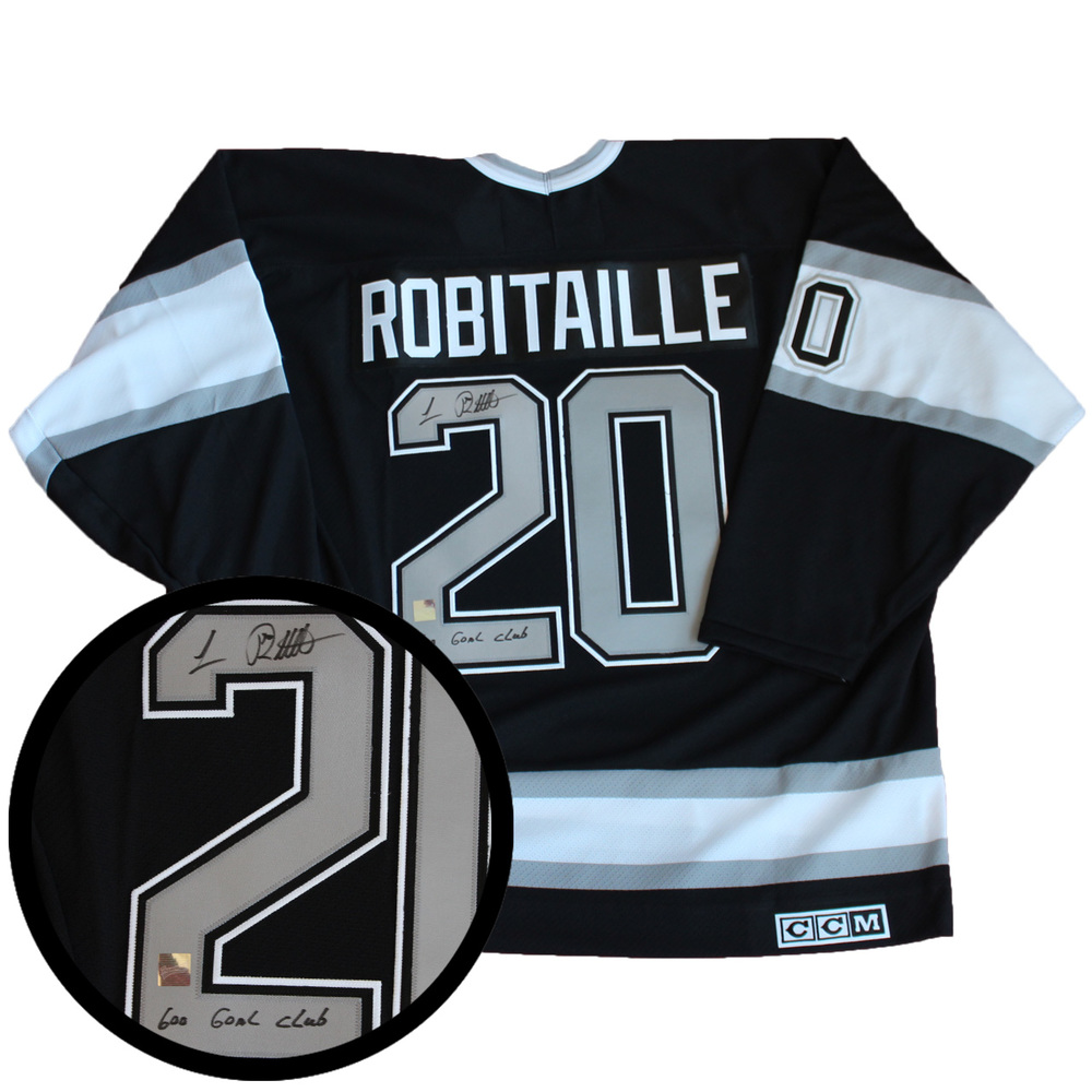Luc Robitaille Signed Jersey Kings 600 Goal Club Replica Black/Silver Vintage CCM