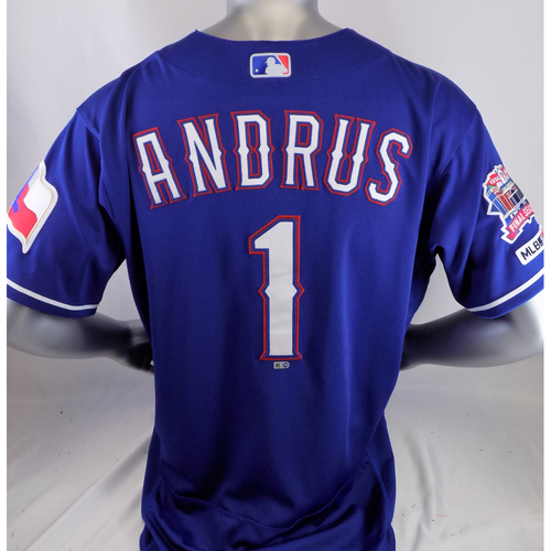 Photo of Elvis Andrus Game-Used Blue Homerun Jersey - 6/20/19 v CLE