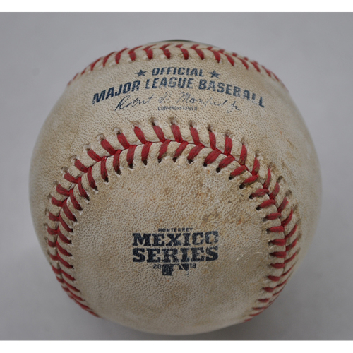 Photo of Game-Used Baseball - 2018 Mexico Series - 5/4/2018 - Los Angeles Dodgers vs. San Diego Padres - Top 2 - Pitcher: Joey Lucchesi, Batter: Walker Buehler - Foul
