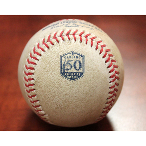Photo of Chris Sale (BOS) / Matt Chapman Triple Game-Used Baseball (Sean Manaea's No-Hitter Game vs BOS 4/21/18)