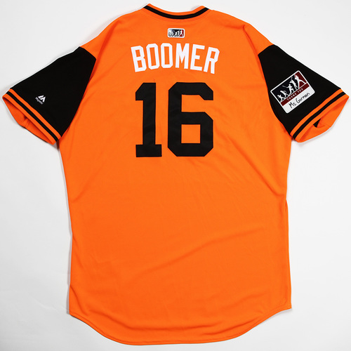 "Photo of Trey ""Boomer"" Mancini Baltimore Orioles Game-Used 2018 Players' Weekend Jersey"