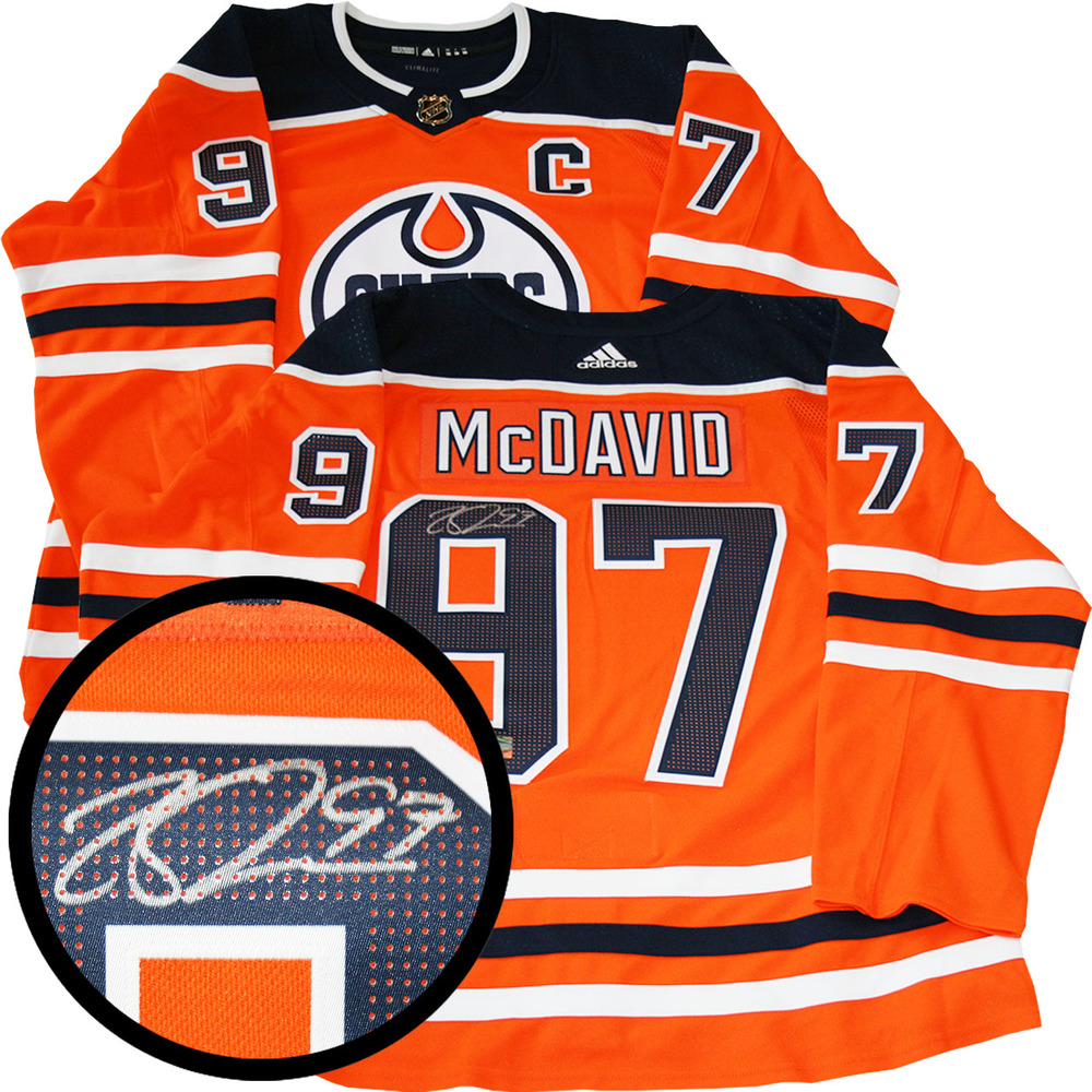 newest 260db a107e Connor McDavid Signed Jersey Oilers Pro Orange 2017-2019 ...