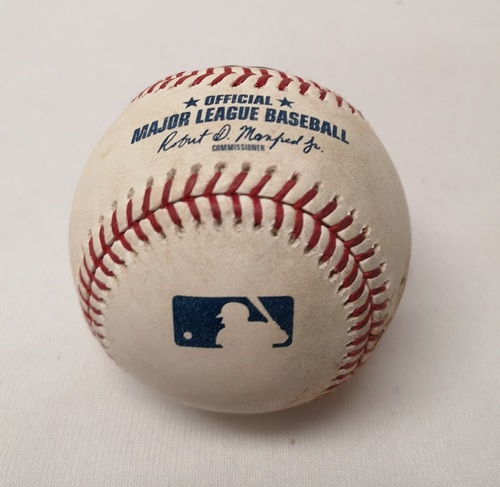 Photo of Authenticated Game Used Baseball - Yonder Alonso Ball against Sam Gaviglio (September 6, 2018 vs CLE). Top 2. MLB Debut for Reese McGuire.