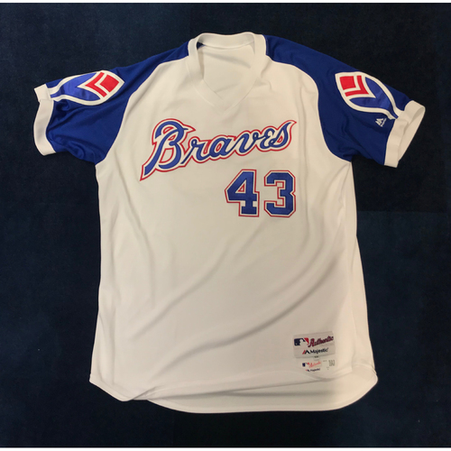 Photo of Brian Snitker (Team-Issued or Game-Used) 2019 Atlanta Braves Hank Aaron Weekend 1974 Throwback Jersey