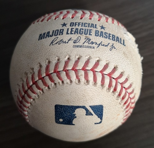 Photo of Authenticated Game Used Baseball: Single by Jose Ramirez against Sam Gaviglio (Jul 22, 19 vs CLE). Top 8.