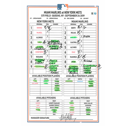 Photo of Game-Used Lineup Card - Syndergaard 5 IP, 7 K's; Conforto 2 HR's; Nimmo Walk-Off Walk in the 11th; Mets Win 5-4 - Mets vs. Marlins - 9/24/19