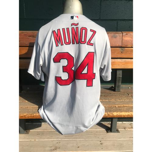 Photo of Cardinals Authentics: Yairo Munoz Game Worn Road Grey Postseason Jersey