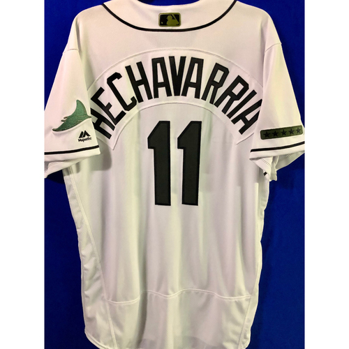 Photo of Team Issued Home White Memorial Day Jersey: Adeiny Hechavarria