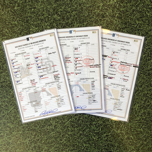 Photo of Game-Used Lineup Card: 09/19/19 vs SD (Hader SV 34),  Game-Used Lineup Card: 09/24/19 at CIN (Hader SV 36), Game-Used Lineup Card: 09/26/19 at CIN (Hader SV 37)