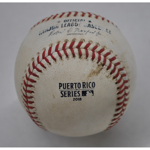 Photo of Game-Used Baseball - 2018 Puerto Rico Series - 4/17/2018 - Cleveland Indians vs. Minnesota Twins - Top 5 - Pitcher: Jake Odorizzi, Batter: Bradley Zimmer - Double to RF, Batter: Francisco Lindor - Swinging Strike