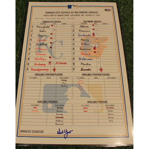 Photo of Game-Used Lineup Card: KC @ BAL 8/21/2019