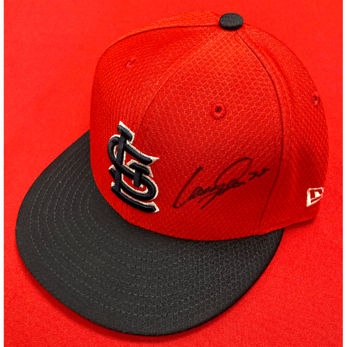 Photo of Lane Thomas Autographed Team-Issued Batting Practice Cap (Size 7 1/8)