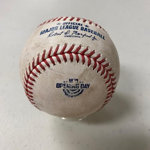 Photo of 2020 Game Used Opening Day Baseball used on 7/28 vs. SD - B-6: Zach Davies to Mauricio Dubon - Foul Ball