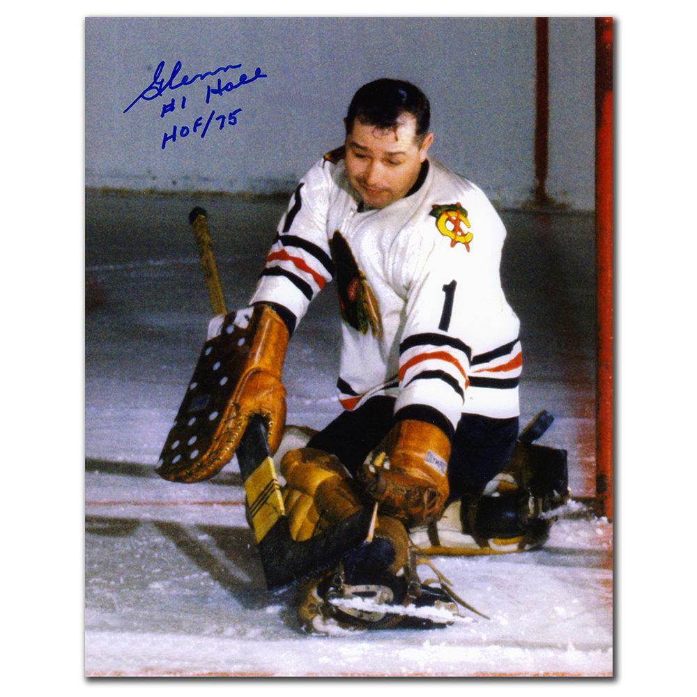 Glenn Hall Chicago Blackhawks PAD SAVE Autographed 8x10