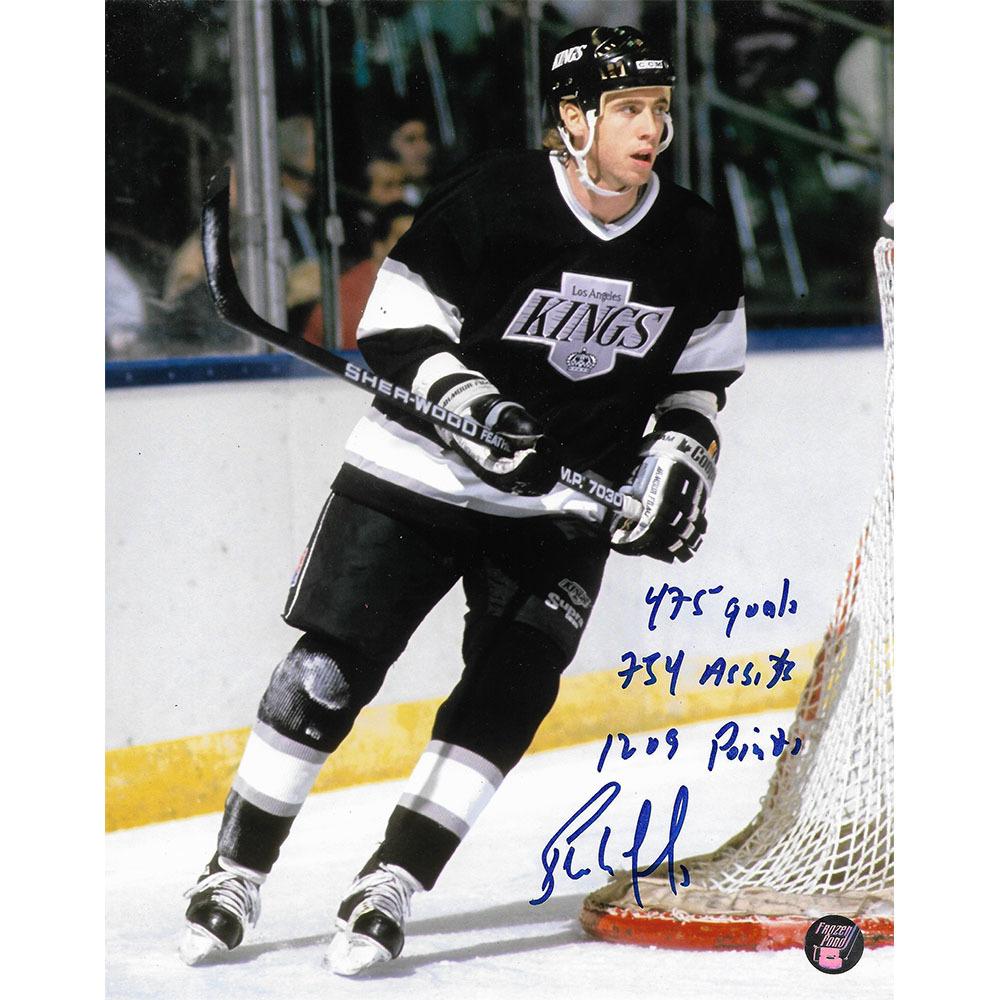 Bernie Nicholls Autographed Los Angeles Kings 8X10 Photo w/Career Stats Inscription